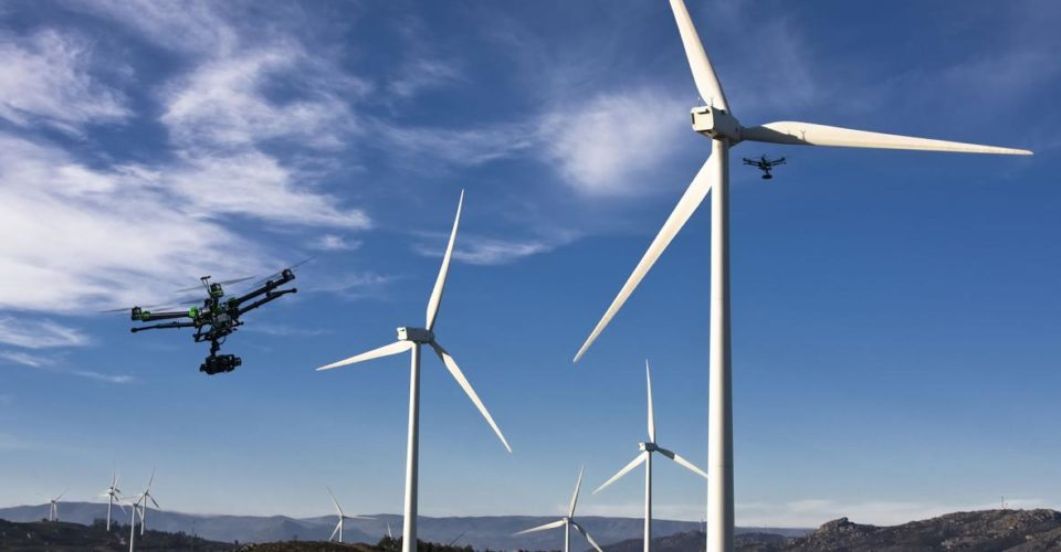 Drones Monitoring Wind Energy